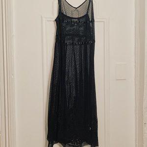 Free People Black Lace V-Neck Slip Dress
